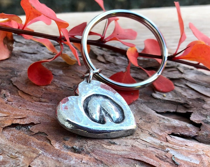 Barefoot Hoofprint on my Heart Keychain, Rustic Horse Lover Keyring