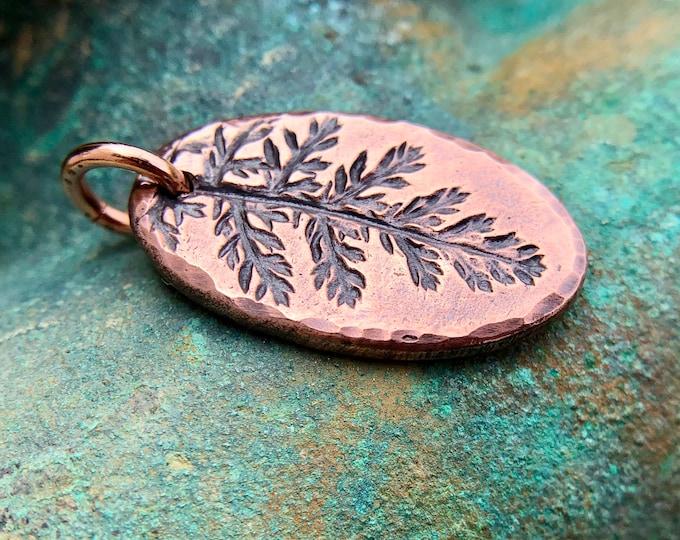 Small Oval Yarrow Leaf Pendant, Botanical Impression