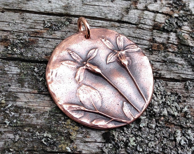 Copper Flower Pendant, Wildflower Nature Jewelry, Botanical Focal Pendant