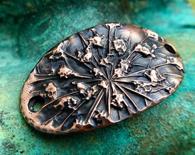 Copper Bracelet Link, Queen Annes Lace, Botanical Floral Connector