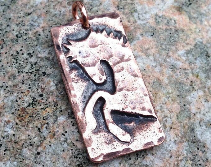 Copper Wild and Free Horse Pendant, Rearing Horse Jewelry