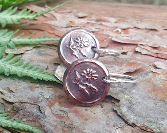 Copper Daisy Earrings, Daisy Drop Earrings, Sterling Silver