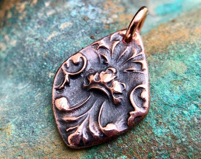 Copper Fleur de Lis Detail, Sculptural Relief Charm