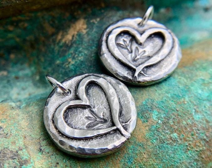 Chicken Love Pendant, Bird Track Charm, Rustic Farm Jewelry
