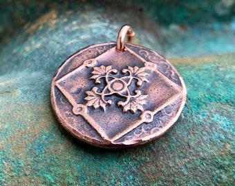 Copper Vintage Design Pandant, Embossed Design Charm
