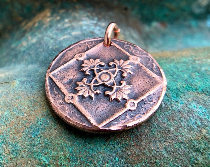 Copper Vintage Design Pandant, Embossed Design Charm