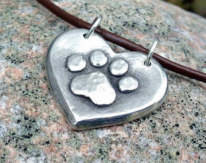 Paw Print on my Heart Necklace, Paw Print Heart Pendant, Rustic Pet Jewelry, Dog Mom Gift, Cat Lover Gift, Dog Love, Cat Love