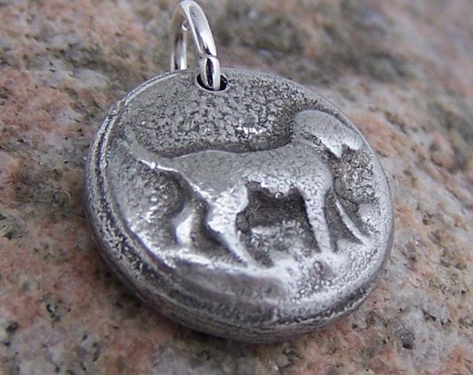 Happy Dog Pendant, Dog Charm, Hand Cast Pewter Jewelry