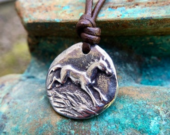Happy Horse Necklace, Rustic Horse Jewelry, Running Horse Pendant