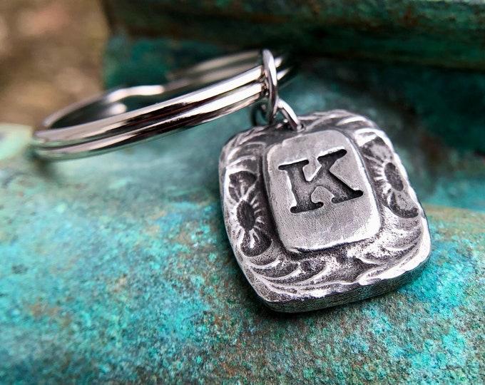 Western Monogram Keychain, Initial Key Ring