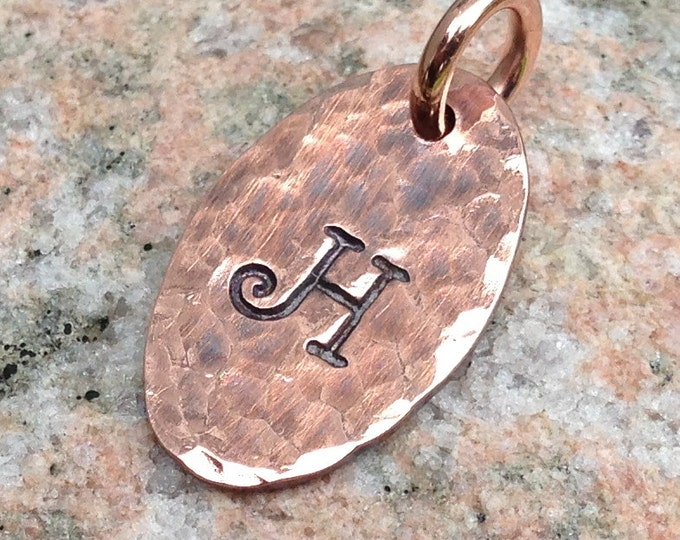 Personalized Small Oval Copper Tag Charms, Hand Stamped Letter Pendant