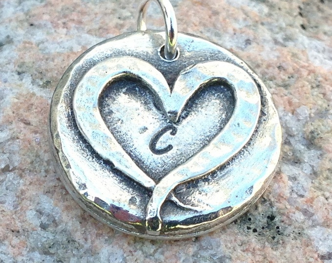 Monogram Heart Pendant, Personalized Initial Pendant, Custom Letter Charm