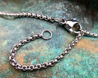 Stainless Steel Rolo Chain 2mm, 18 inches with 2 inch extender to 20 inches