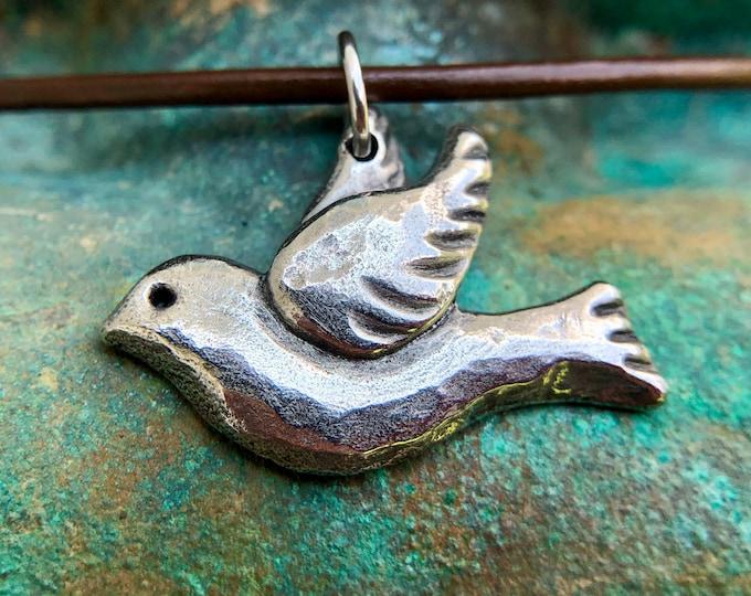 Peace Dove Necklace, Flying Bird Pendant