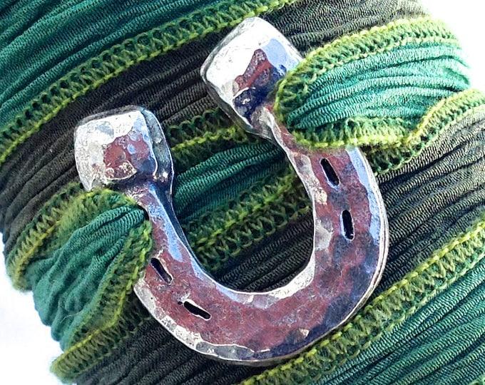 Hammered Horse Shoe Silk Ribbon Wrap Bracelet, Hand Cast Pewter, Adjustable