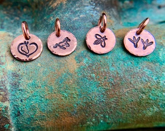 Tiny Copper Charm, Hand Stamped Horse, Heart, Bee, Chicken Tracks, You Pick Design