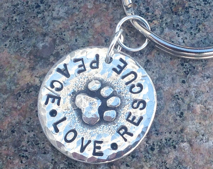 Peace Love Rescue Keychain or Peace Love Adopt Key Ring or Personalized with Pets Names