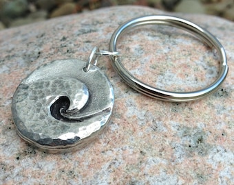 Ocean Wave Key Chain, Wave Key Ring, Hammered Surf