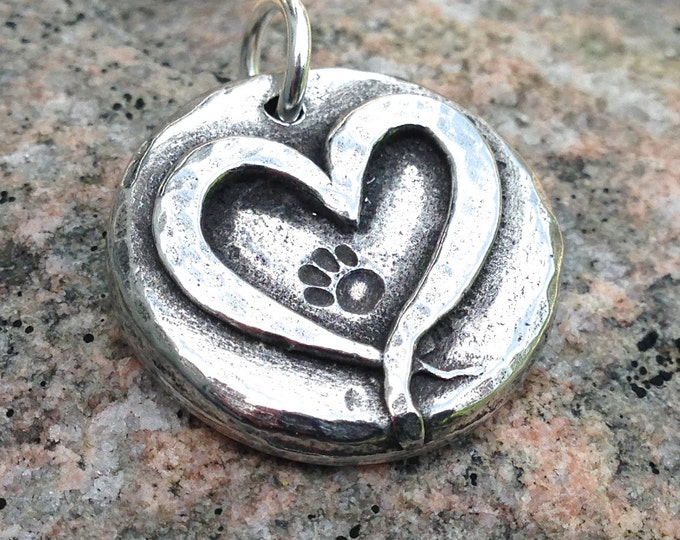 Paw Print in my Heart Pendant, Heart with Pawprint Charm, Pet Jewelry