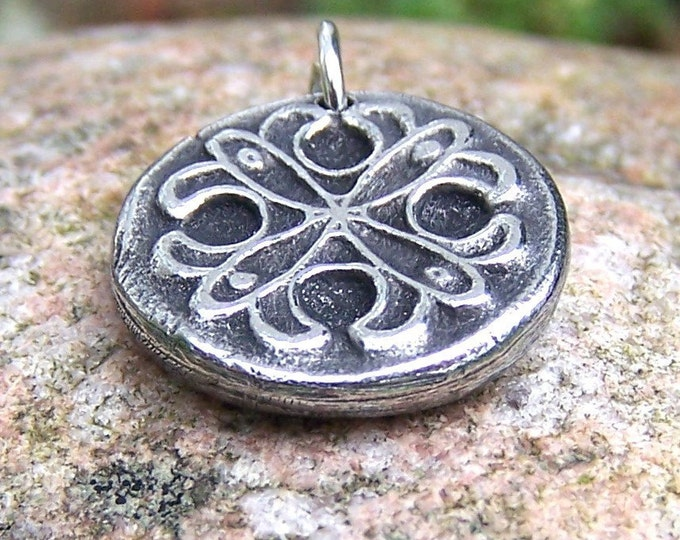 Rustic Lace Pendant or Charm, Handcast Pewter