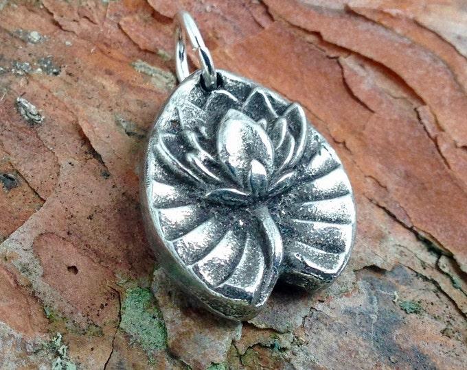 Little Lotus Pendant, Lotus Flower Charm, Yoga Jewelry