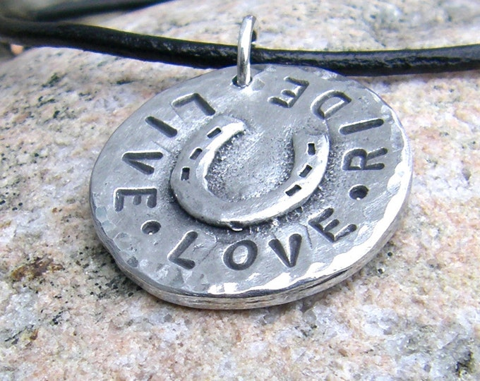 Live Love Ride Necklace, Rustic Horse Jewelry, Hand Stamped Pendant
