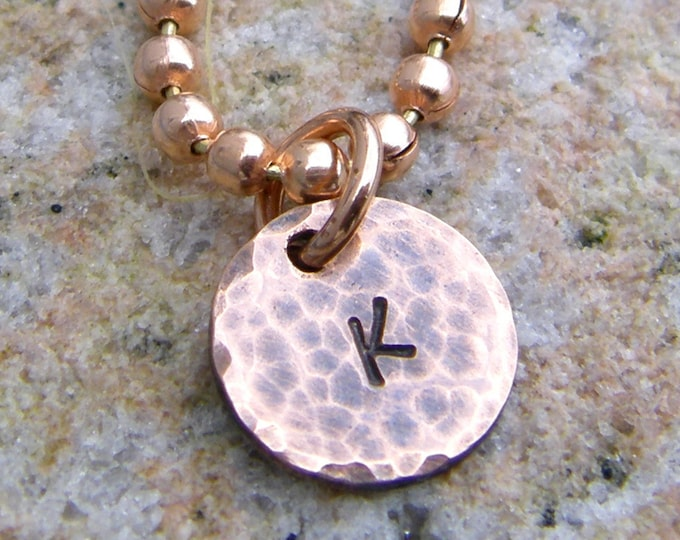Personalized Tiny Copper Initial Necklace, Custom Pendant and Copper Bead Chain