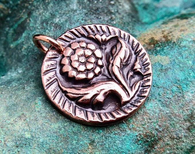 Copper Dahlia Flower Pendant, Gardener Gift