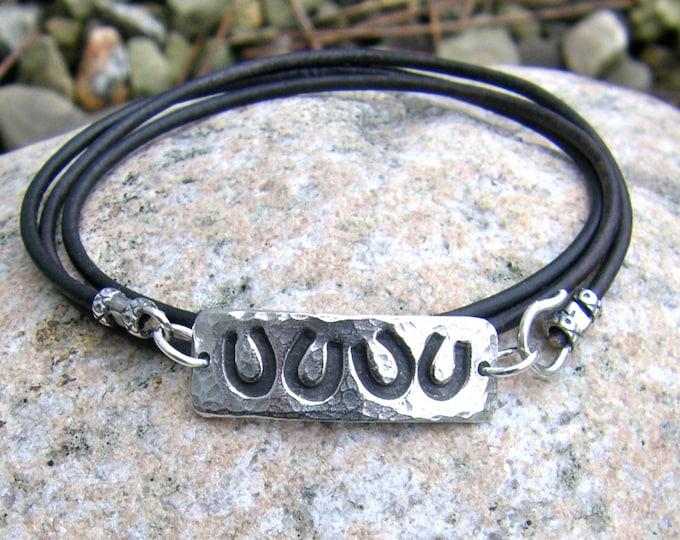 Horse Shoe Wrap Bracelet, Lucky Four Horseshoes, Pewter and Leather