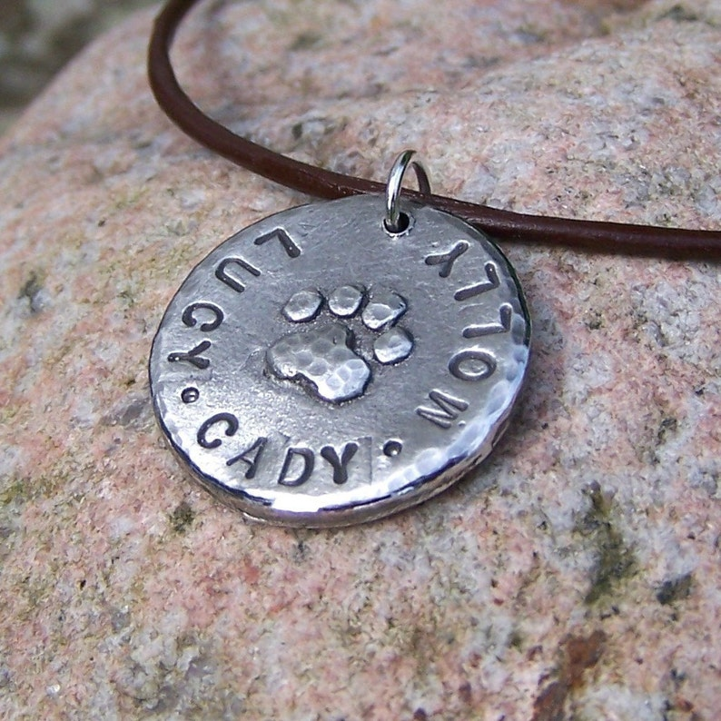 Personalized Pet Lovers Necklace, Paw Print Pendant, Custom Dog Names, cat  names, dog mom gift, hand cast pewter, rustic pet jewelry