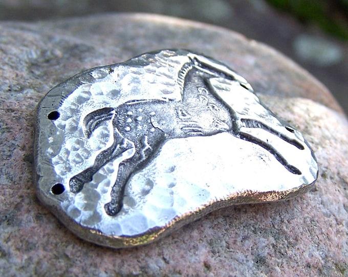 Spirit Horse Bracelet Link, Hammered Horse Connector, Bracelet Focal