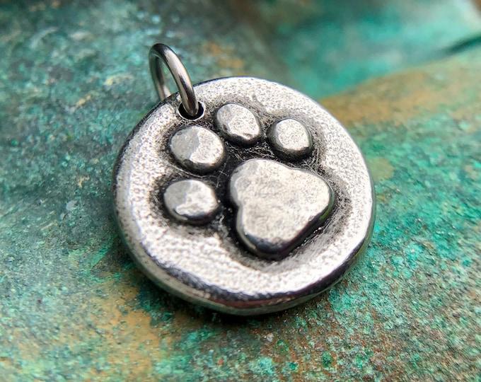 Little Paw Print Pendant, Paw Print Charm, Pet Jewelry