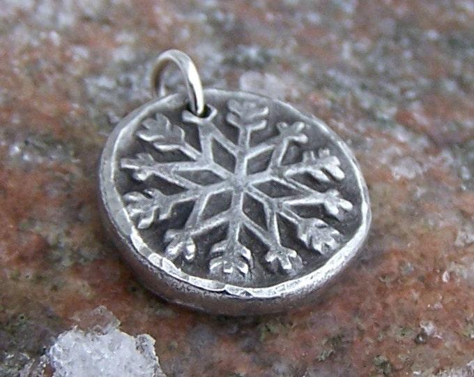 Snowflake Pendant, Snowflake Charm, Rustic Winter Jewelry