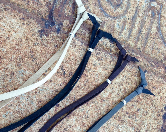 Adjustable Leather Necklace Cord, Light Tan, Black, Chocolate Brown, Slate Grey, Flat Jewelry Cord, Soft Deerskin Lace, Adjustable Lace