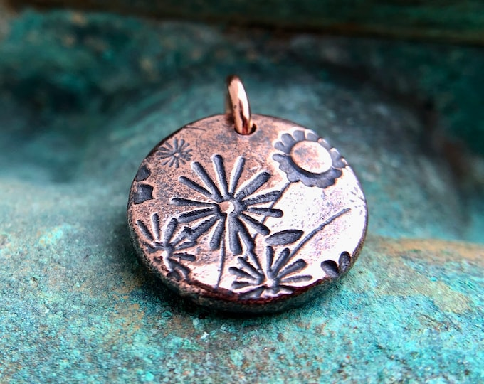 Small Copper Wildflowers Pendant or Charm