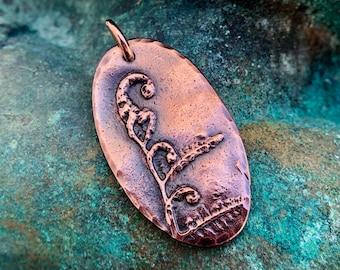 Oval Copper Fiddlehead Fern Pendant, Unfurl Jewelry
