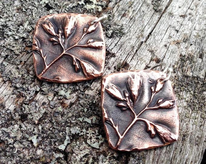 Copper Wildflower Earrings, Sterling Silver Earwires
