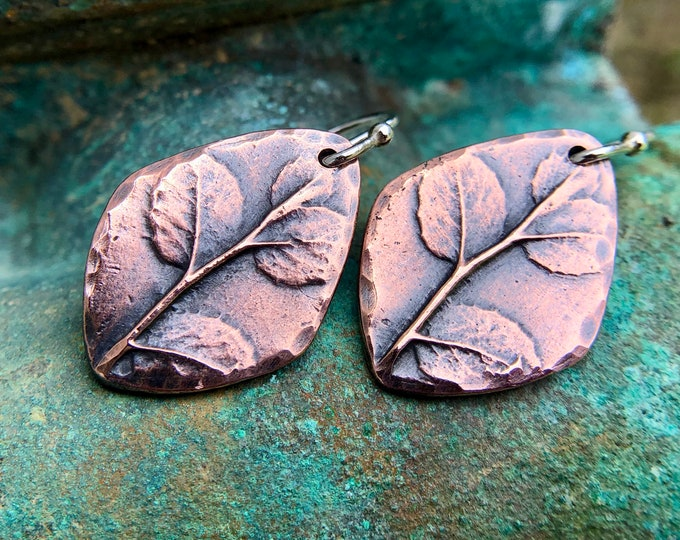 Copper Foliage Earrings with Sterling Silver Earwires