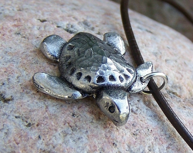 Sea Turtle Necklace, Ridley Turtle Pendant, Hand Cast Pewter