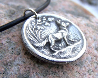 Fox Necklace, Rustic Woodland Jewelry, Fox Pendant, Animal Jewelry, Handcast Pewter, Forest, Silver Pewter, Woodland Animal Necklace