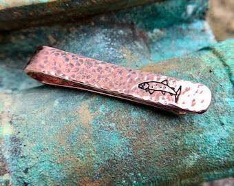 Copper Trout Tie Bar, Fish Necktie Clip, Hammered Copper Tie Bar