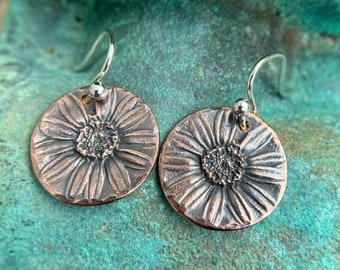 Copper Daisy Earrings, Sterling Silver Earwires