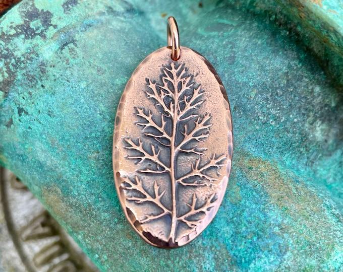 Oval Yarrow Leaf Pendant, Gardener Gift