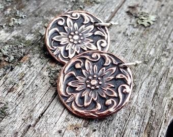 Copper Western Style Flower Earrings, Sterling Silver Earwires, Rustic Cowgirl Jewelry