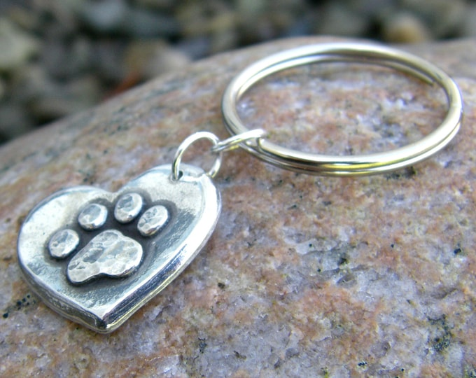 Paw Print on My Heart Keychain, Hand Cast Pewter