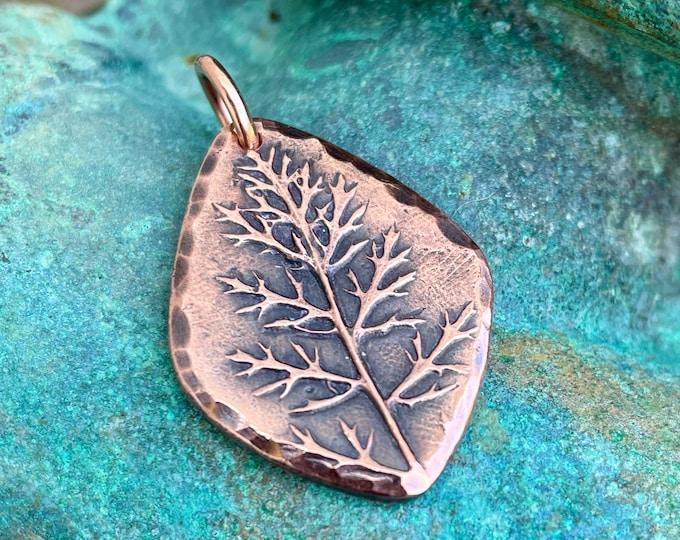 Copper Yarrow Leaf Pendant, Rustic Botanical Jewelry, Winter Trees