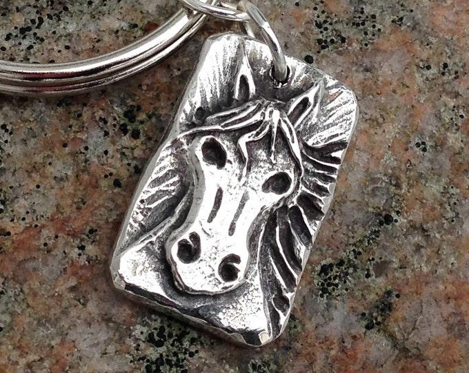 Horse Keychain, Rustic Horse Head Key Ring, Naughty Pony Key Chain