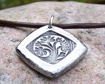 Dreaming Tree Necklace, Handcast Pewter Pendant, Flowering Tree Pendant