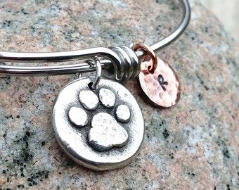 Pet Lovers Bangle Bracelet, Personalized Adjustable, Mixed Metal