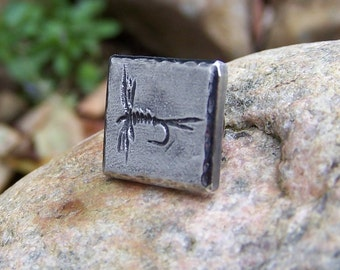 Fly Fishing Tie Tack or Pin, Fishing Trip Memento, Dry Fly Hat Vest Pin